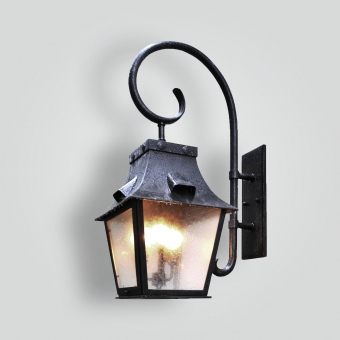 80496-cb4-br-w-shba-large-traditonal-lantern-with-forged-scroll-arm-brass-lantern - ADG Lighting Collection