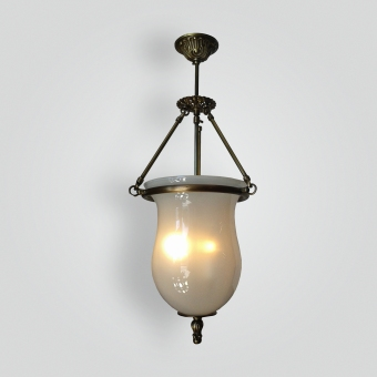 2013-cb3-gwhite-bell-jar-pendant-cast-brass - ADG Lighting Collection