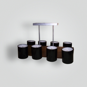 7030-cb8-st-h-ba-black-laquered-shade-and-wood-hanging-light - ADG Lighting Collection