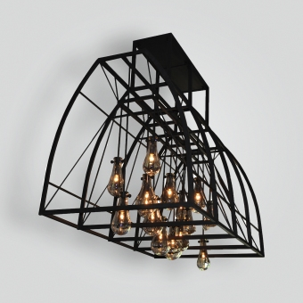 7288-cb15-ir-h-ba-pyrex-glass-and-irn-light-skinned-hood-modern-chandelier-a1 - ADG Lighting Collection