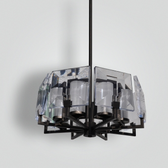 7600-cb8-stac-h-ba Flame Edged Diamond Cut Acrylic Panels and Frosted Glass Chandelier - ADG Lighting Collection