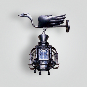 1192-mb1-ir-w-fr-forged-swan-lantern-on-forged-arm-adg-lighting-collection
