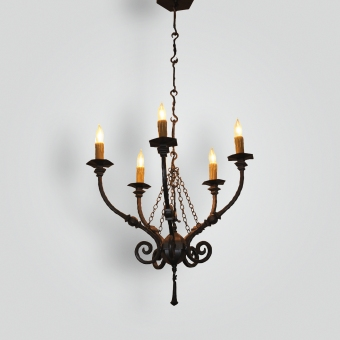 20126-mb5-ir-pen-ba-5-lite-wrought-iron-chandelier - ADG Lighting Collection