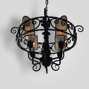 2056-mb4-ir-h-ba-4-light-scrolled-iron-pendant-oiled-parchment-shades-adg-lighting-cr-collection