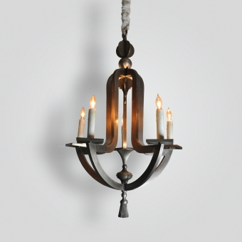 22468-mb5-br-h-sh-hand-made-pewter-finished-chandelier-with-led-uplight - ADG Lighting Collection