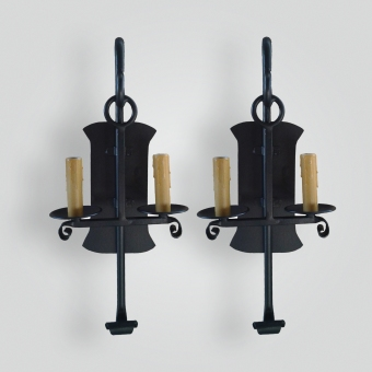 5085-cb2-ir-s-ba-iron-Double-Candle-Stick-Sconce-with-Giacometti-finish-ADG-Lighting-Collection