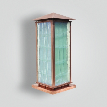 810-mb2-brp-sh-cast-glass-copper-pilaster-lantern - ADG Lighting Collection