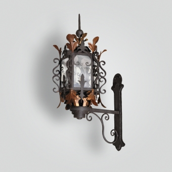 863-ga-ir-w-f Wrought Iron Leaf Lantern - ADG Lighting Collection