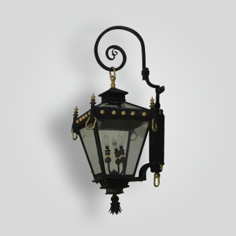 901-cb2-stbr-w-sh-paris-lantern-on-bracket-arm-lourdes-wall-lantern  - ADG Lighting Collection