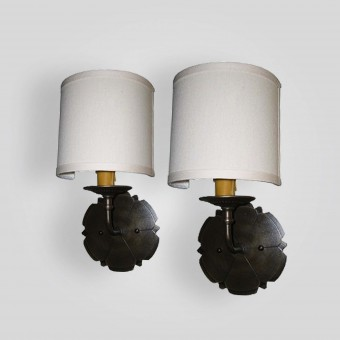 90760-cb1-br-s-sh-brass-sconce-hand-forged-backplate-with-silk-shade - ADG Lighting Collection