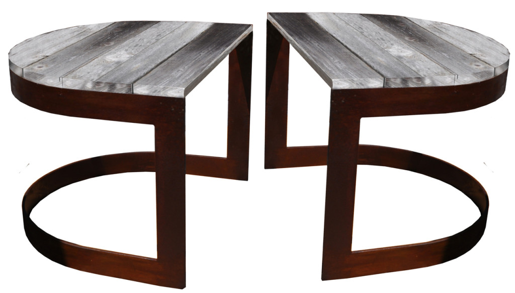 10010 Irwo Ta Reaclaimed Wood U Shaped Side Table Pair Lighting – ADG Lighting