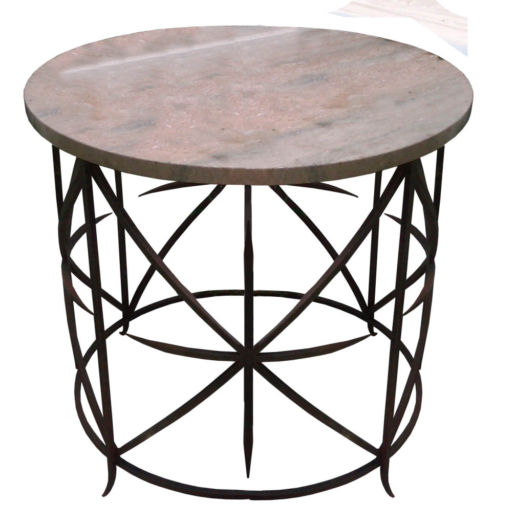 10090 Irst Ta Side Table Stone Top Iron Legs Lighting – ADG Lighting