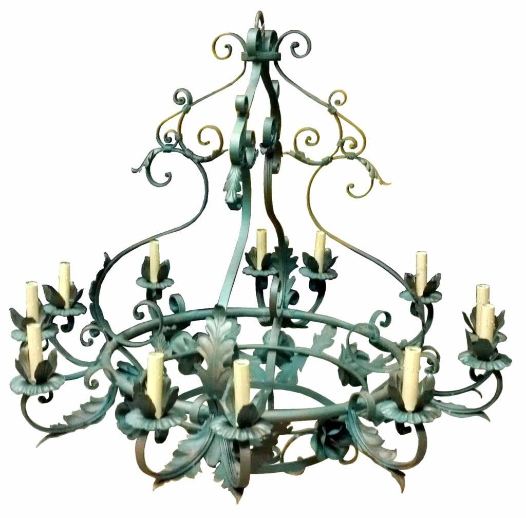 7282 Cb12 Ir H Ba Verde Rose Iron Chandelier French Vintage ADG Lighting