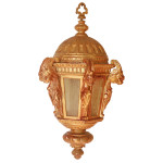 844 1920's Vintage Carved Wood Lantern