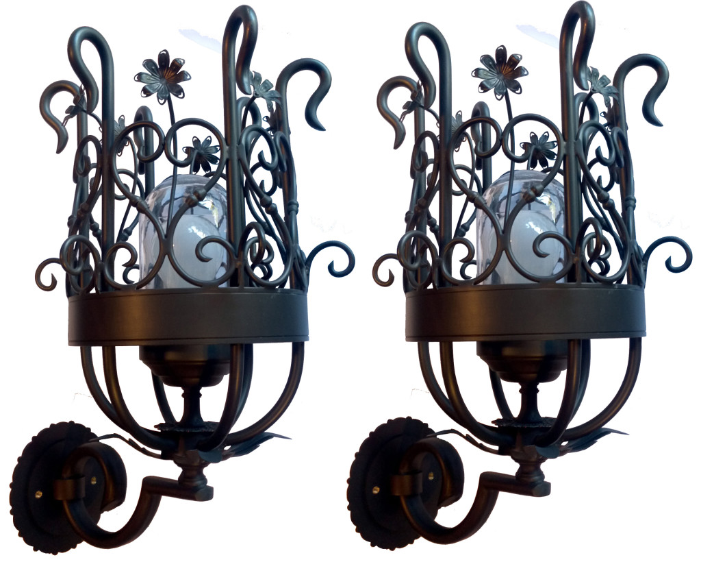 Scroll And Flower Torchiere Wall Sconce 833 Mb1 Br W Ba Sconce 1 ADG Lighting