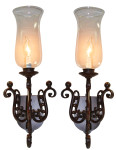 Vintage Scroll Iron and Glass Sconce