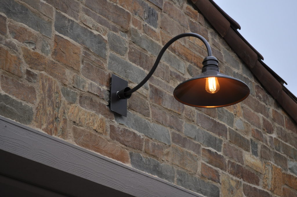 Custom Lantern And Garage Light Modern Traditional Architecture Stone House Adg Lighting Architectural Detail Group