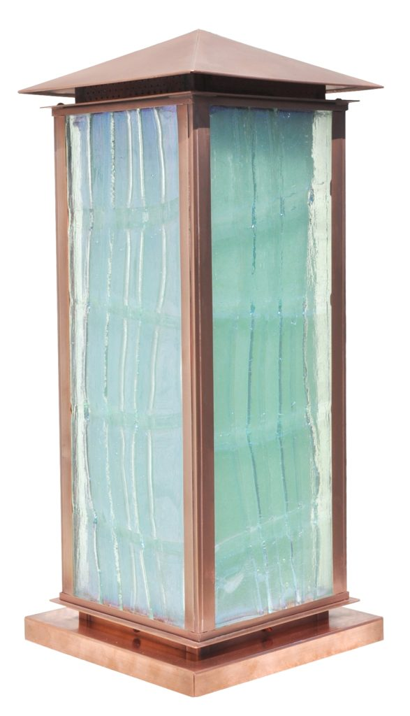 Pilaster Lantern 810 Mb2 Brp Sh Cast Glass Copper Pilaster Lantern ADG Lighting