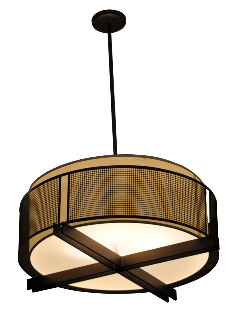 7765 Mb4 Alst P Ba Square Mesh And Fabric Hanging Pendant CR  – ADG Lighting