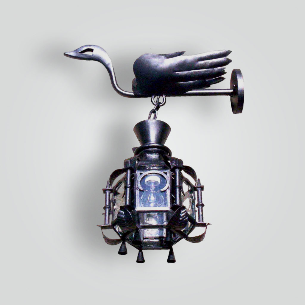 1192-mb1-ir-w-fr-forged-swan-lantern-on-forged-arm – ADG Lighting Collection