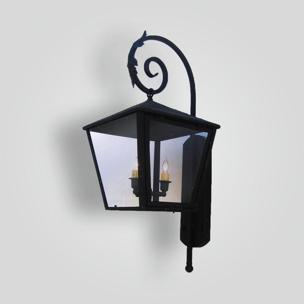 172-cb2-ir-w-ba Square Lantern On Iron Shepard Scroll Arm – ADG Lighting Collection