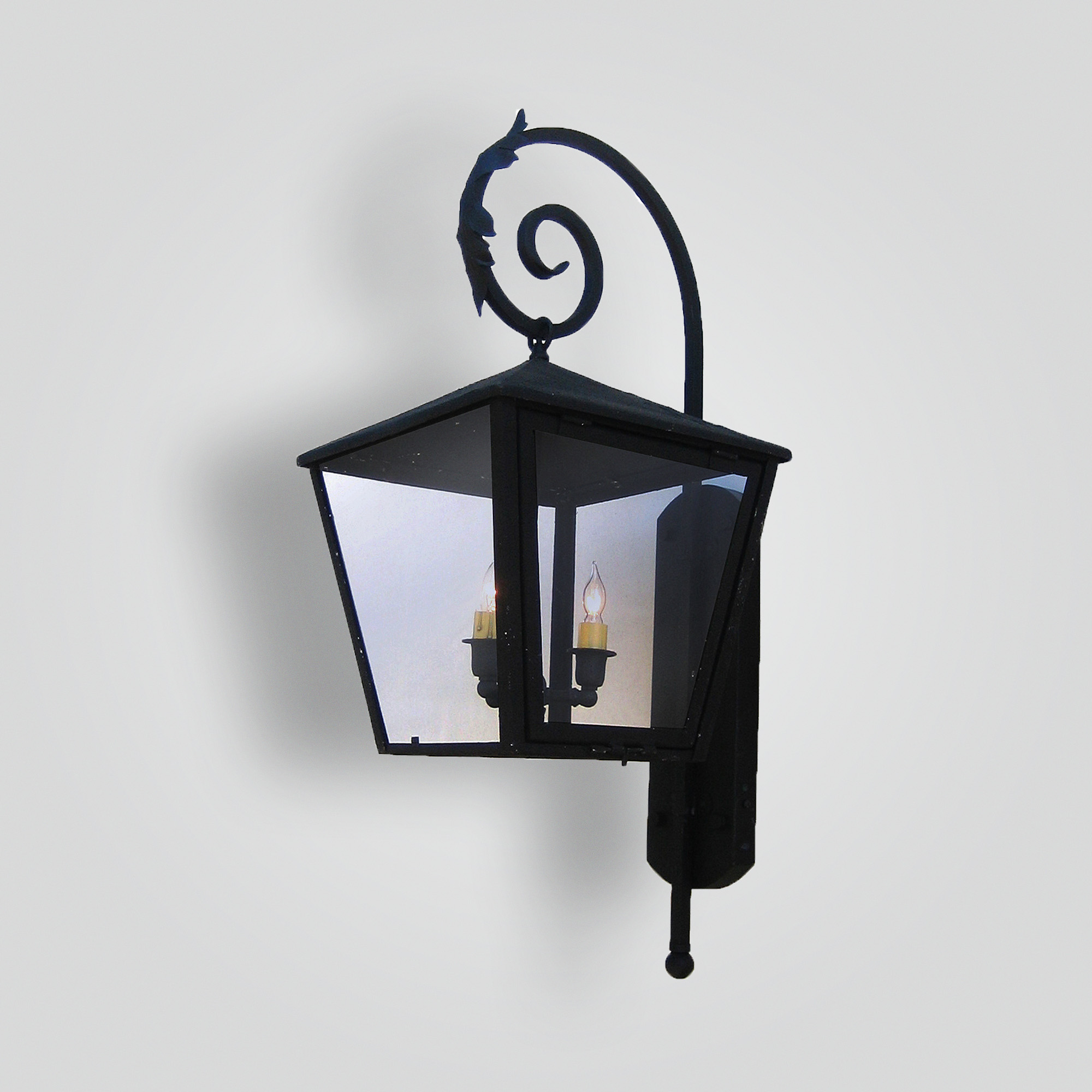 172-cb2-ir-w-ba Square Lantern On Iron Shepard Scroll Arm – ADG Lighting Collection