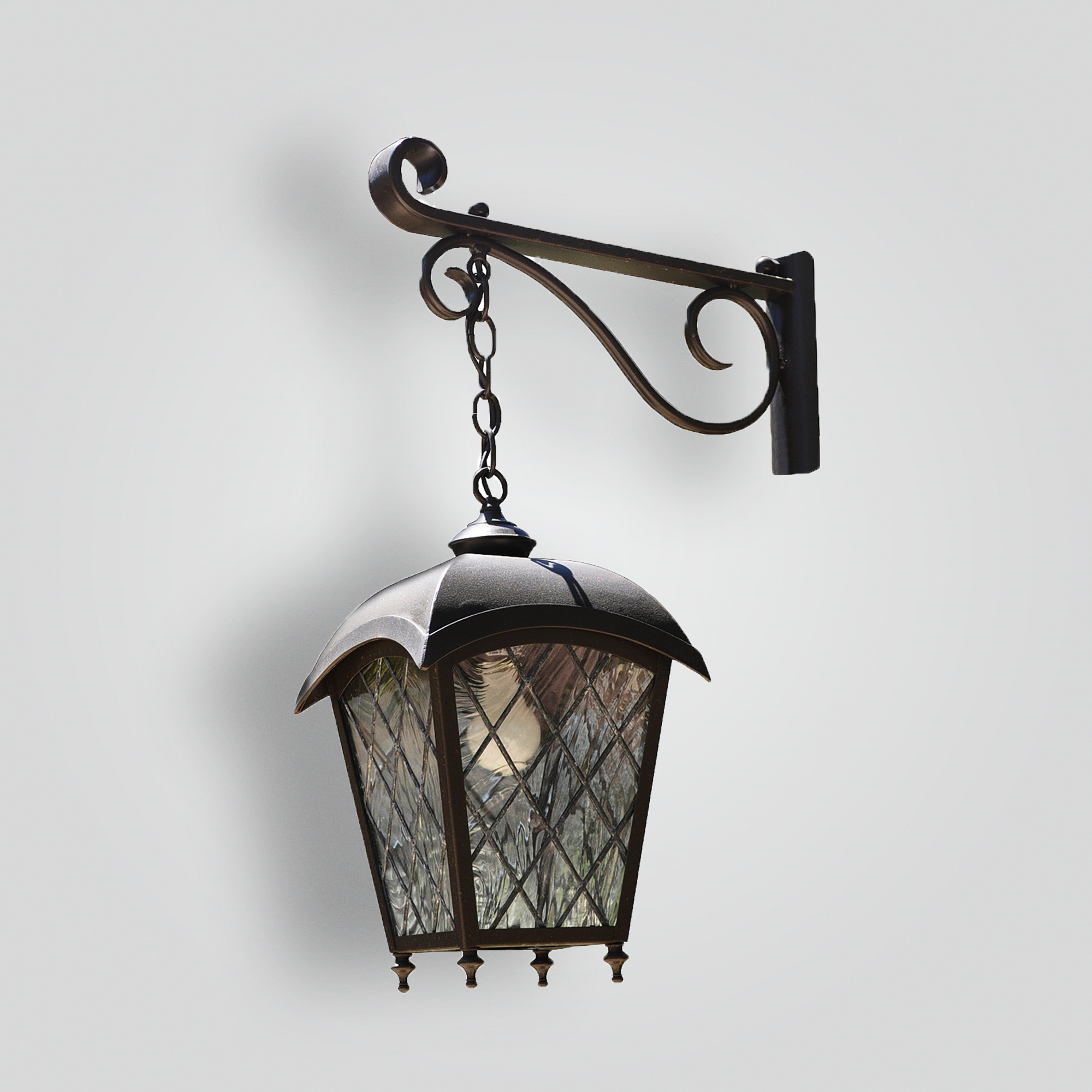 185-mb1-jc-p-sh On Arm Leaded Glass Lantern On Decorative Forged Arm Powdercoat Finish – ADG Lighting Collection