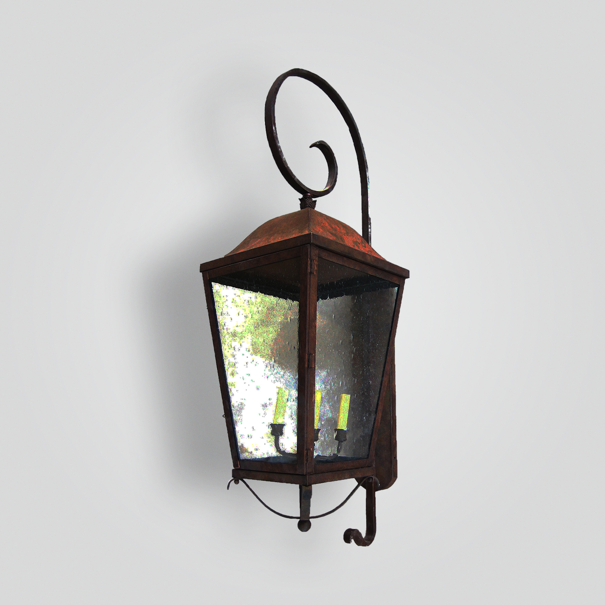 201-cb4-ir-w-ba Simple Lantern On Scrolled Arm – ADG Lighting Collection
