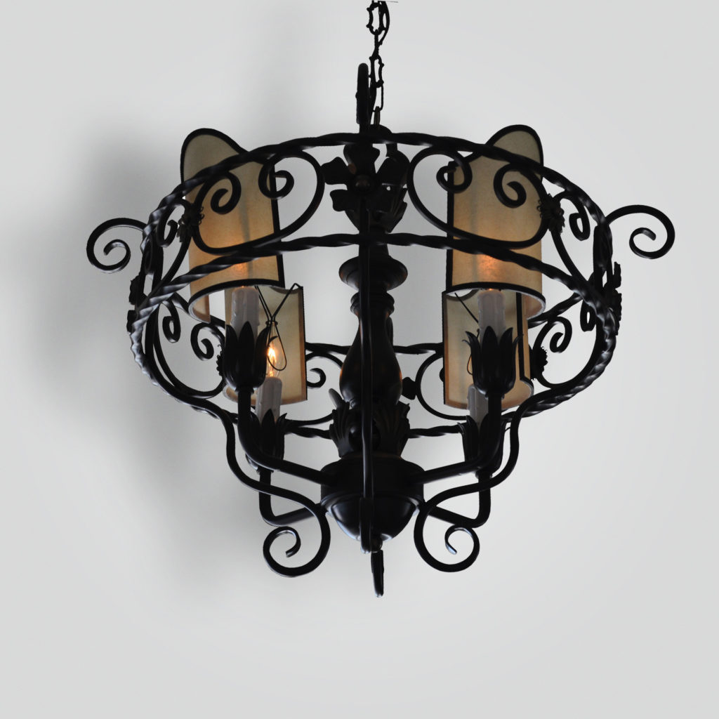 2056-mb4-ir-h-ba-4-light-scrolled-iron-pendant-oiled-parchment-shades – ADG Lighting Collection