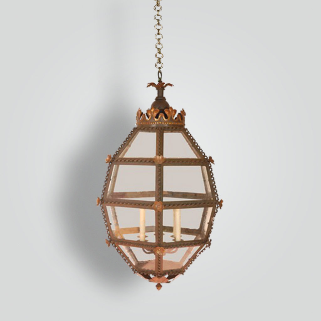 468-cb4-ir-h-sh Italia Lantern With Crown Motif – ADG Lighting Collection