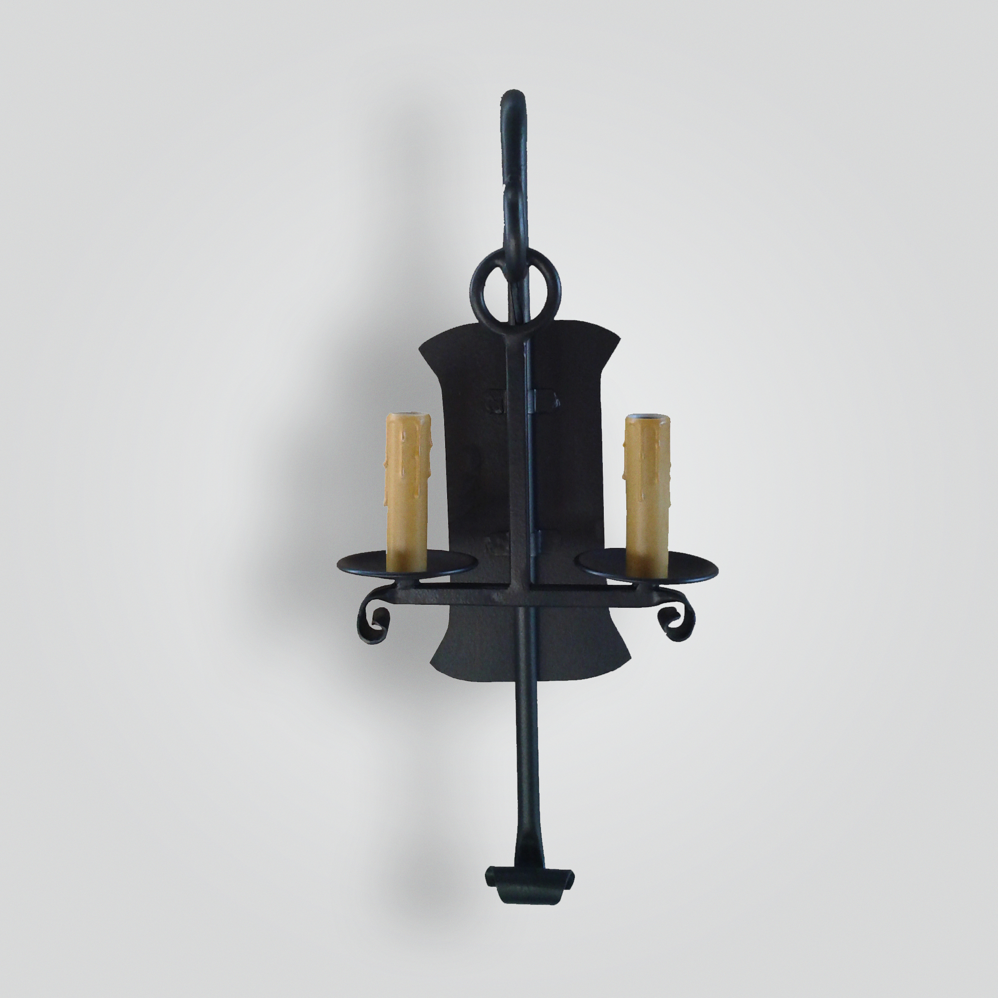 5085-cb2-ir-s-ba-iron-double-candle-stick-sconce-with-giacometti-finish – ADG Lighting Collection