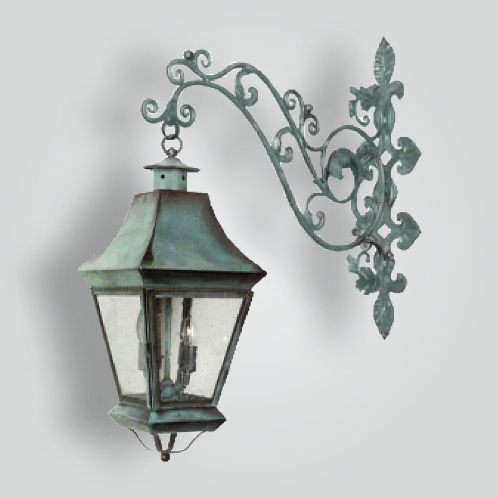 520-cb4-irbr-shba Iron Decorative Arm With Brass Lanterns – ADG Lighting Collection