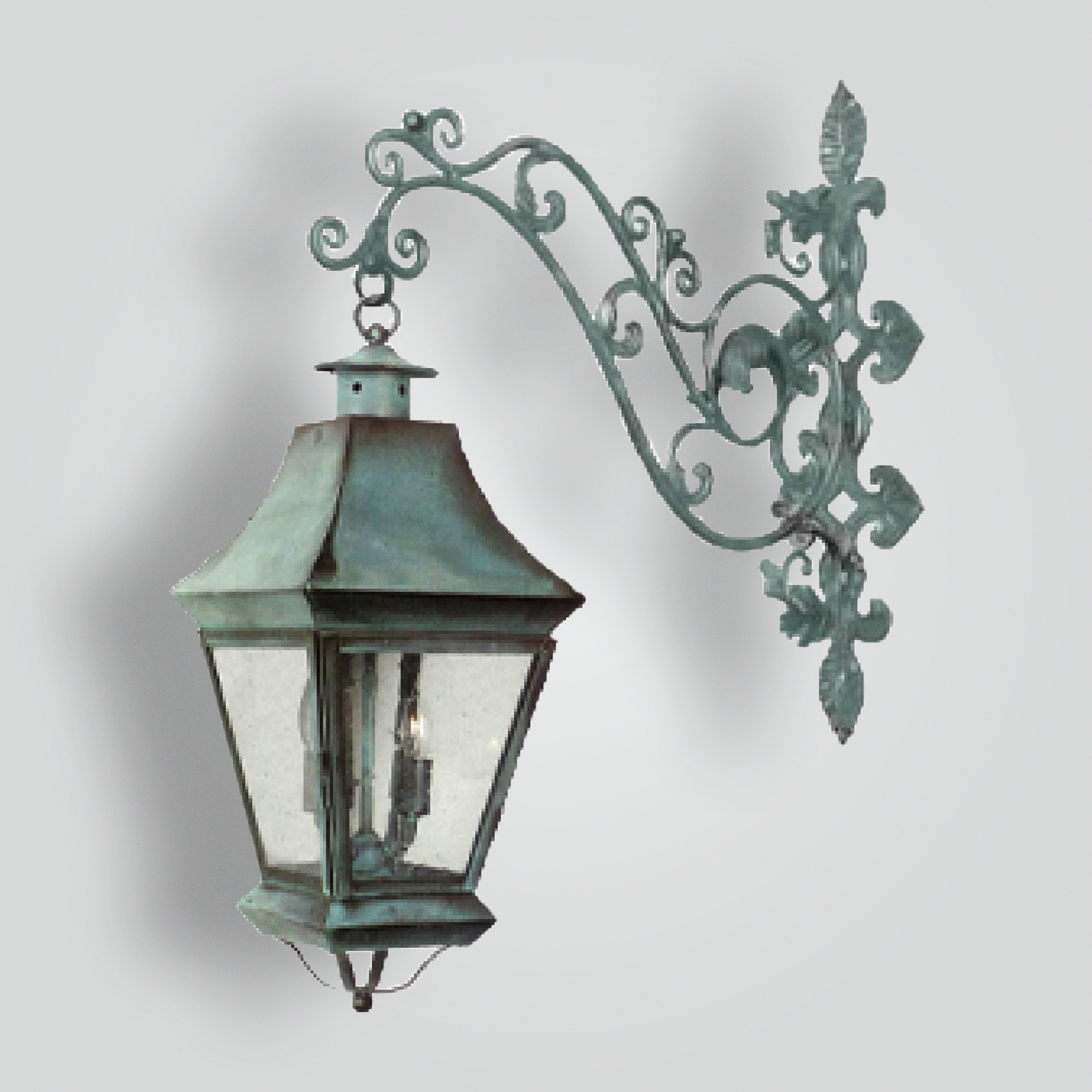 520-cb4-irbr-shba Iron Decorative Arm With Brass Lanterns – ADG Lighting Collection