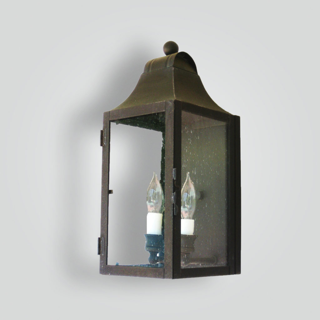 524-cb2-br-w-sh Brass Lantern Clear Glass – ADG Lighting Collection