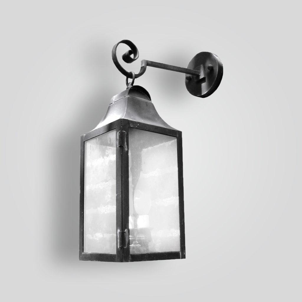 525b-cb2-br-w-sh Brass Lantern On Arm Clear Glass – ADG Lighting Collection