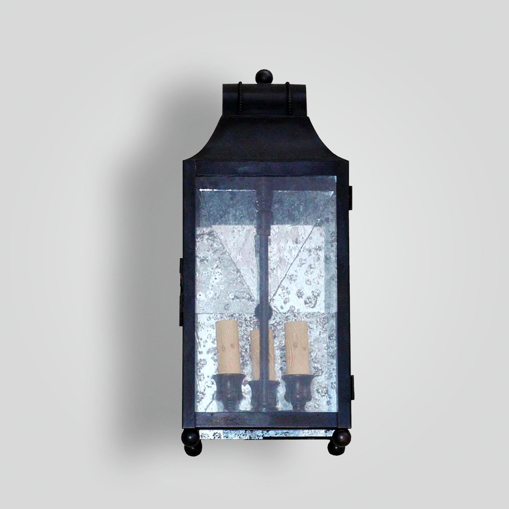 526-cb3-br-w-sh Brass Lantern Antiqued Mirror Glass Back – ADG Lighting Collection
