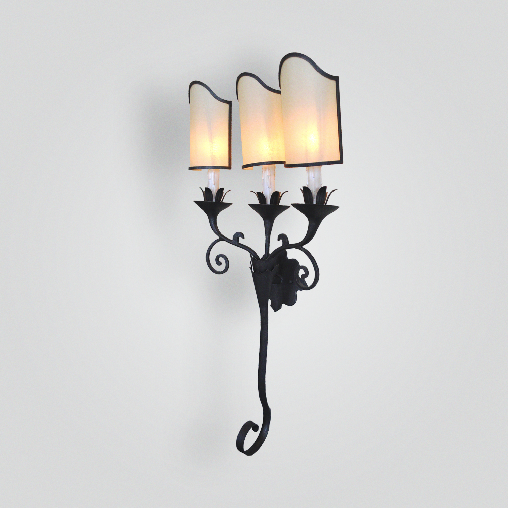 5282-cb3-ir-s-ba-3-light-iron-sconce-with-oiled-parchment-shades – ADG Lighting Collection