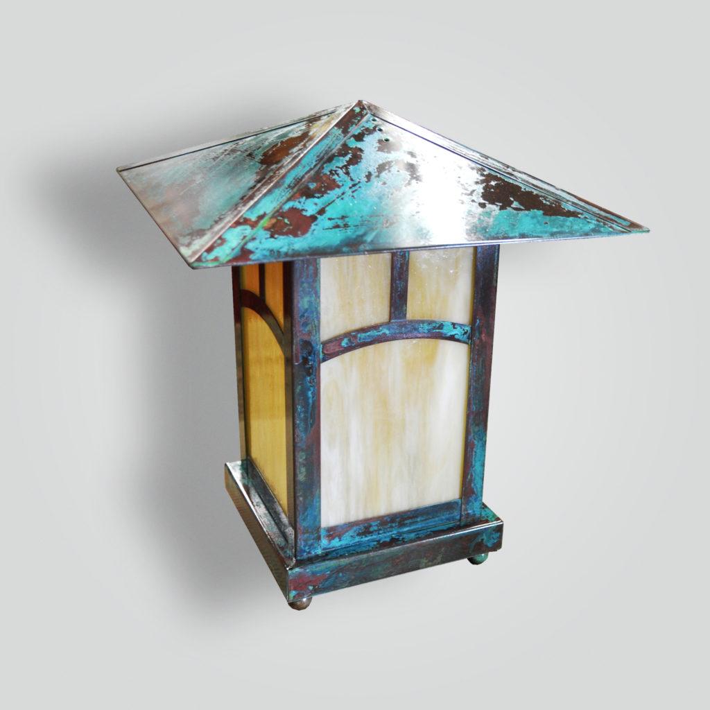 534-led-br-p-sh Craftsman Outdoor Lantern Pilaster Mount Verde Light – ADG Lighting Collection
