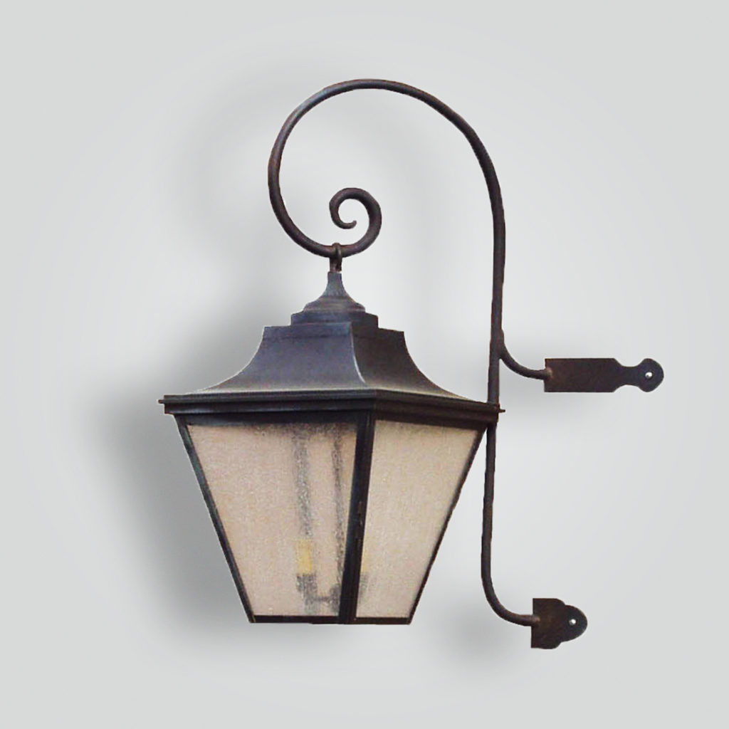 581b-mb1-br-w-sh Brass Lantern With Scrolled Arm Bracket Side Mount – ADG Lighting Collection