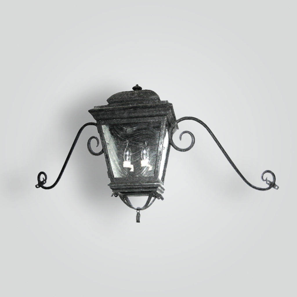 600-cb2-br-w-sh French Lantern With 2 Lights and Moustache Scroll Arm – ADG Lighting Collection
