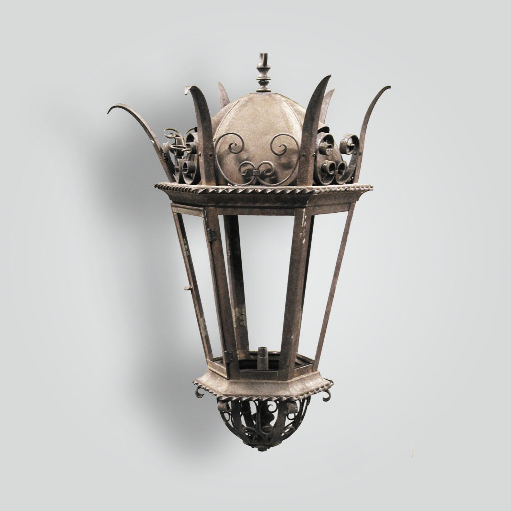614-mb1-st-h-ba Spiked Lantern With Down Light – ADG Lighting Collection
