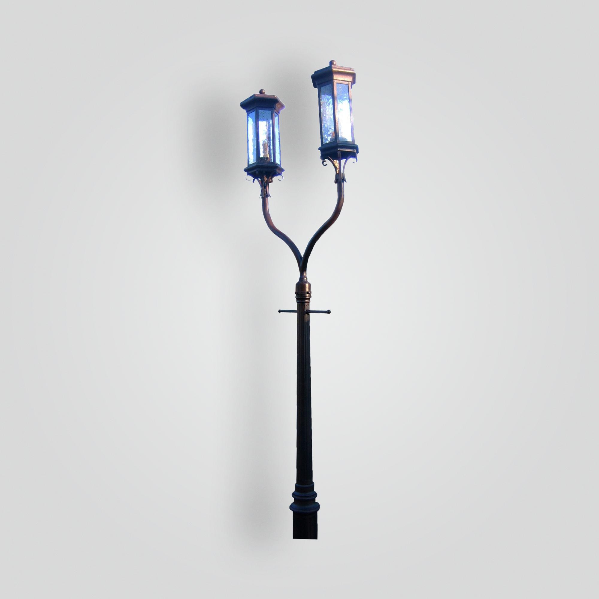 630-cb3-albr-p-shca 2-headed Lantern On Post – ADG Lighting Collection