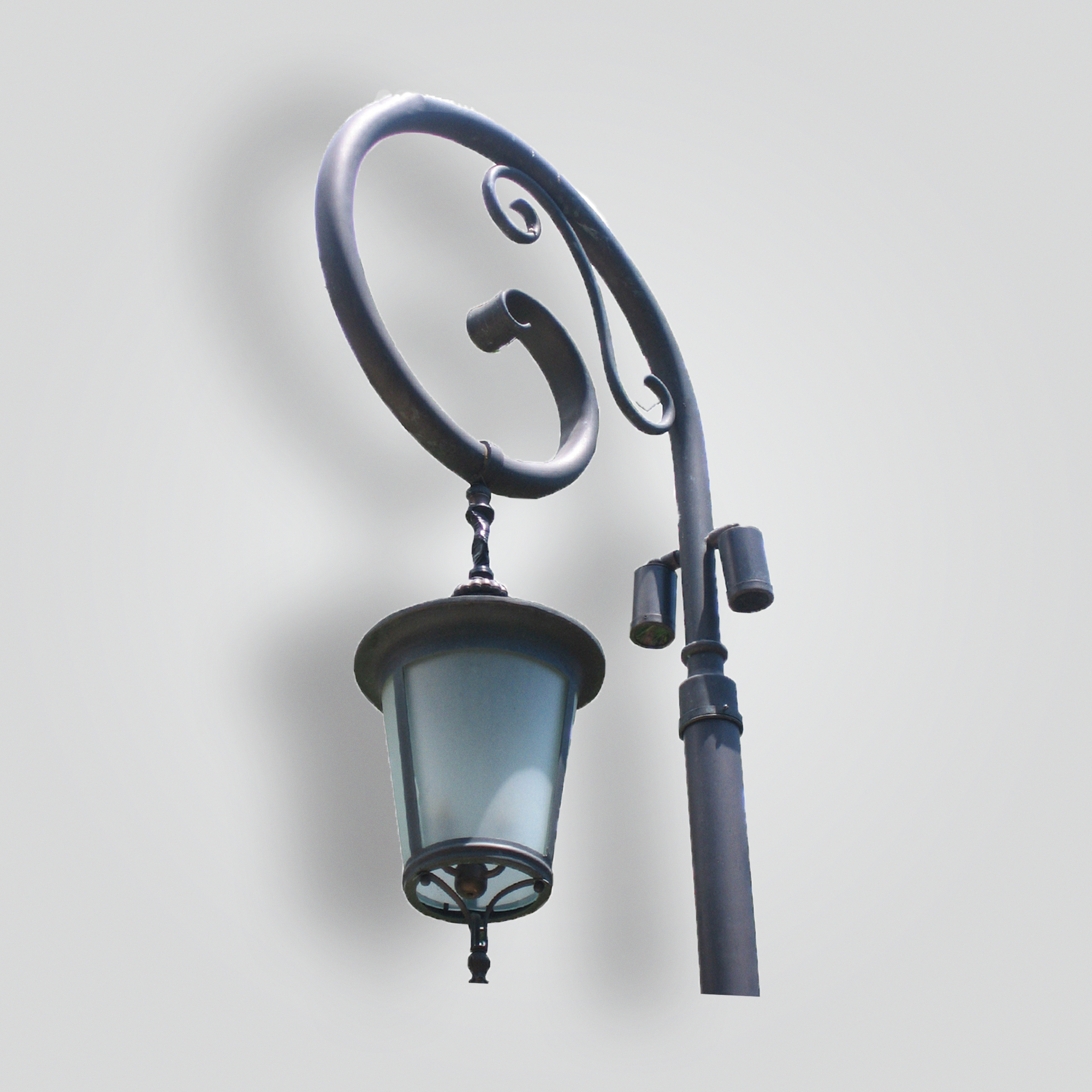 650-mb1-br-p-sh Round Lantern Pendant on Scroll Post Arm – ADG Lighting Collection