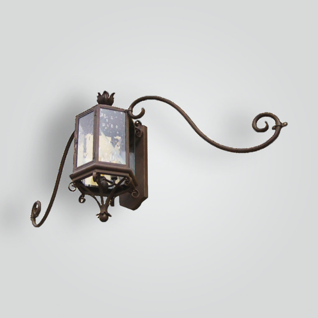 681-cb3-br-w-shba Transistional Lantern on Moustache Arm Bracket – ADG Lighting Collection