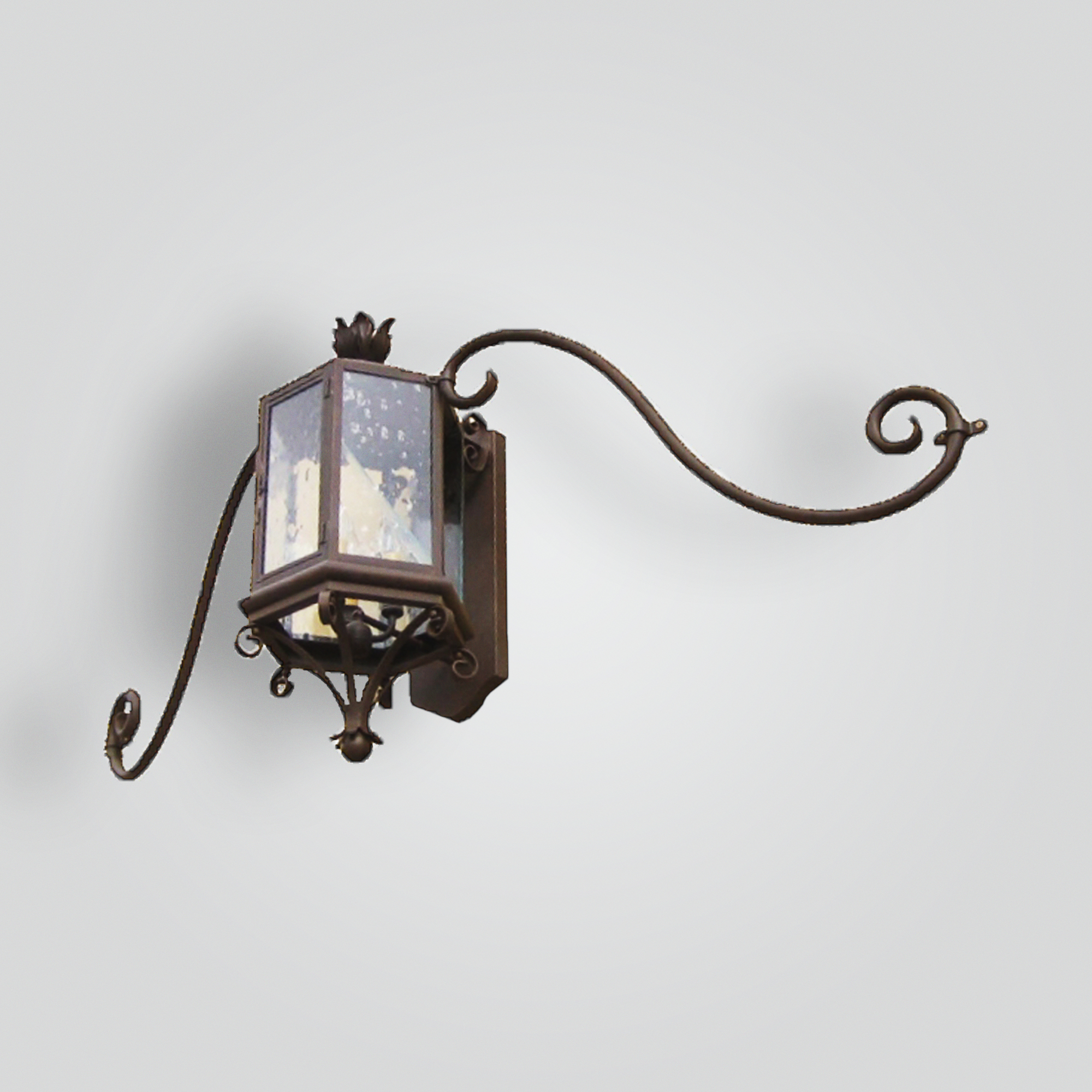 681-cb3-br-w-shba Transistional Lantern on Moustache Arm Bracket – ADG Lighting Collection