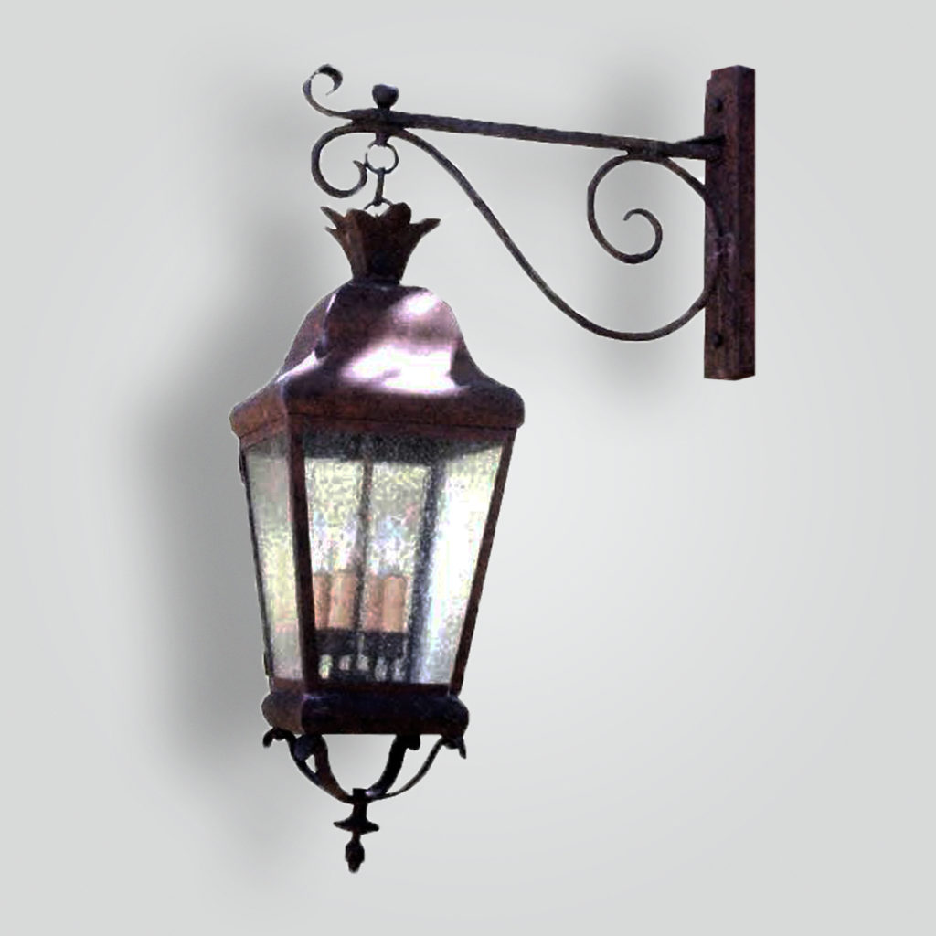 690-cb4-br-p-shwo Lantern on Forged Arm and Wood Post Light – ADG Lighting Collection
