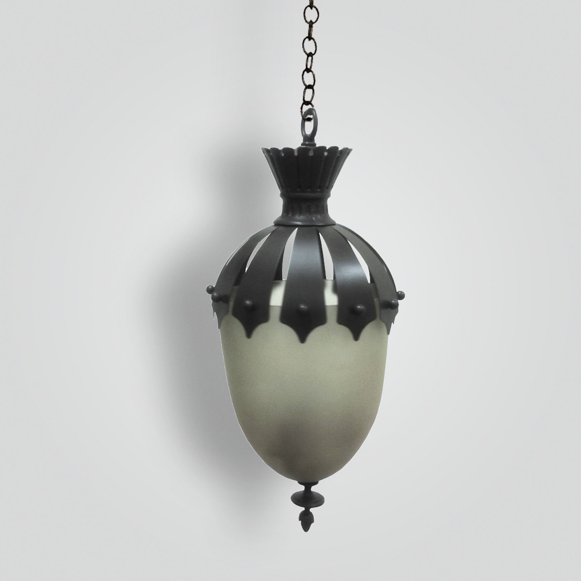 7015-mb1-br-h-sh-bell-jar-sandblasted-pyrex-glass-hanging-pendant-with-cast-ornament – ADG Lighting Collection