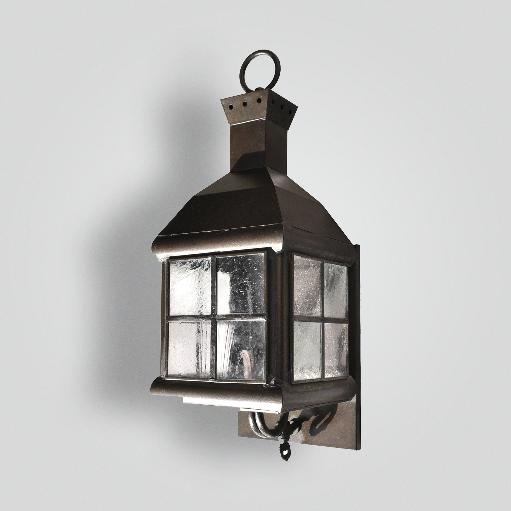 768-cb1-br-w-sh Cottage Wall Lantern With Leaded Glass – ADG Lighting Collection