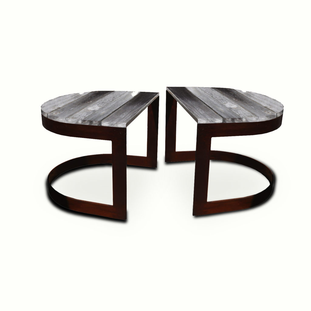 10010-irwo-ta Reclaimed Wood U-shaped Side Table Pair – ADG Lighting Collection