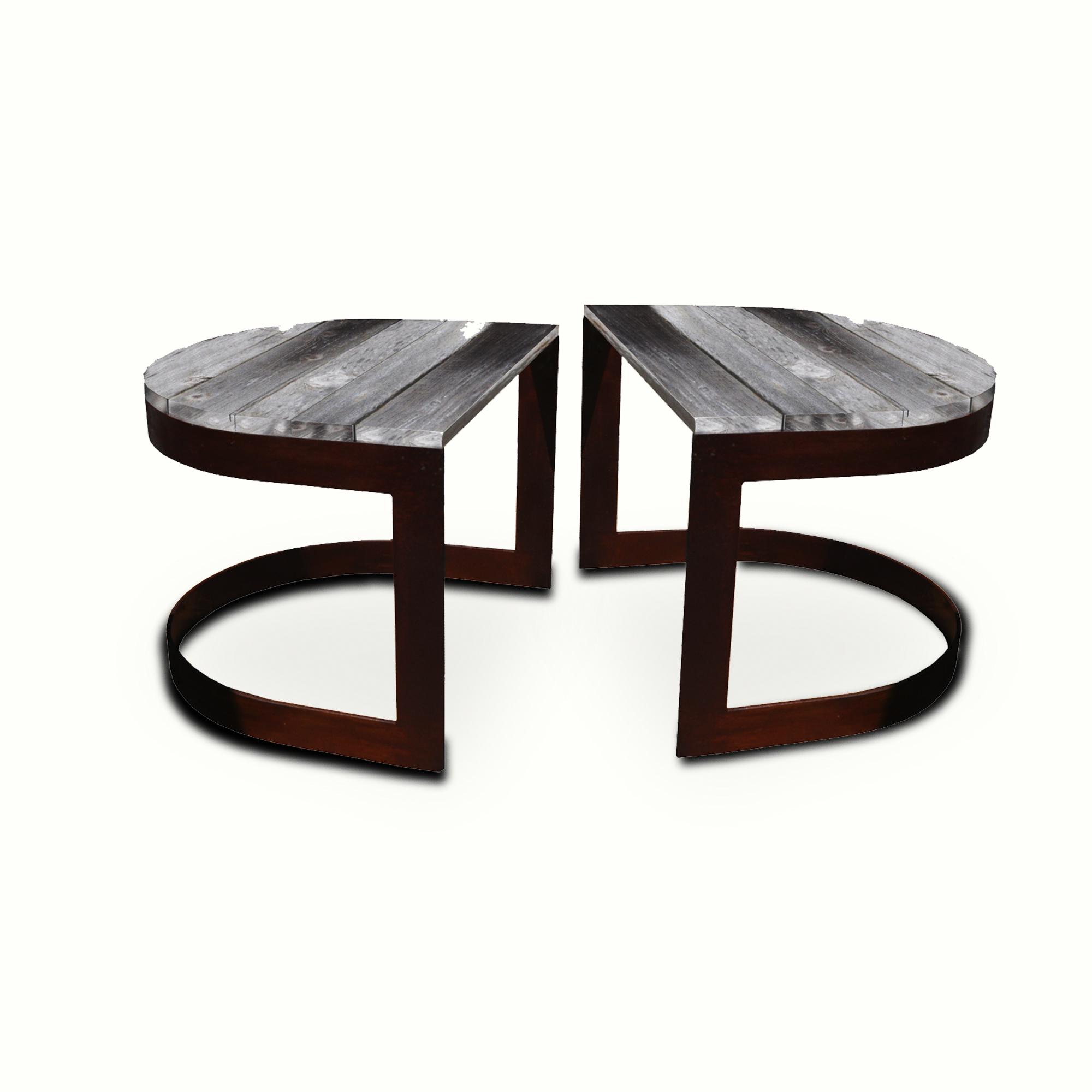 10010-irwo-ta Reclaimed Wood U-shaped Side Table Pair – ADG Lighting Collection